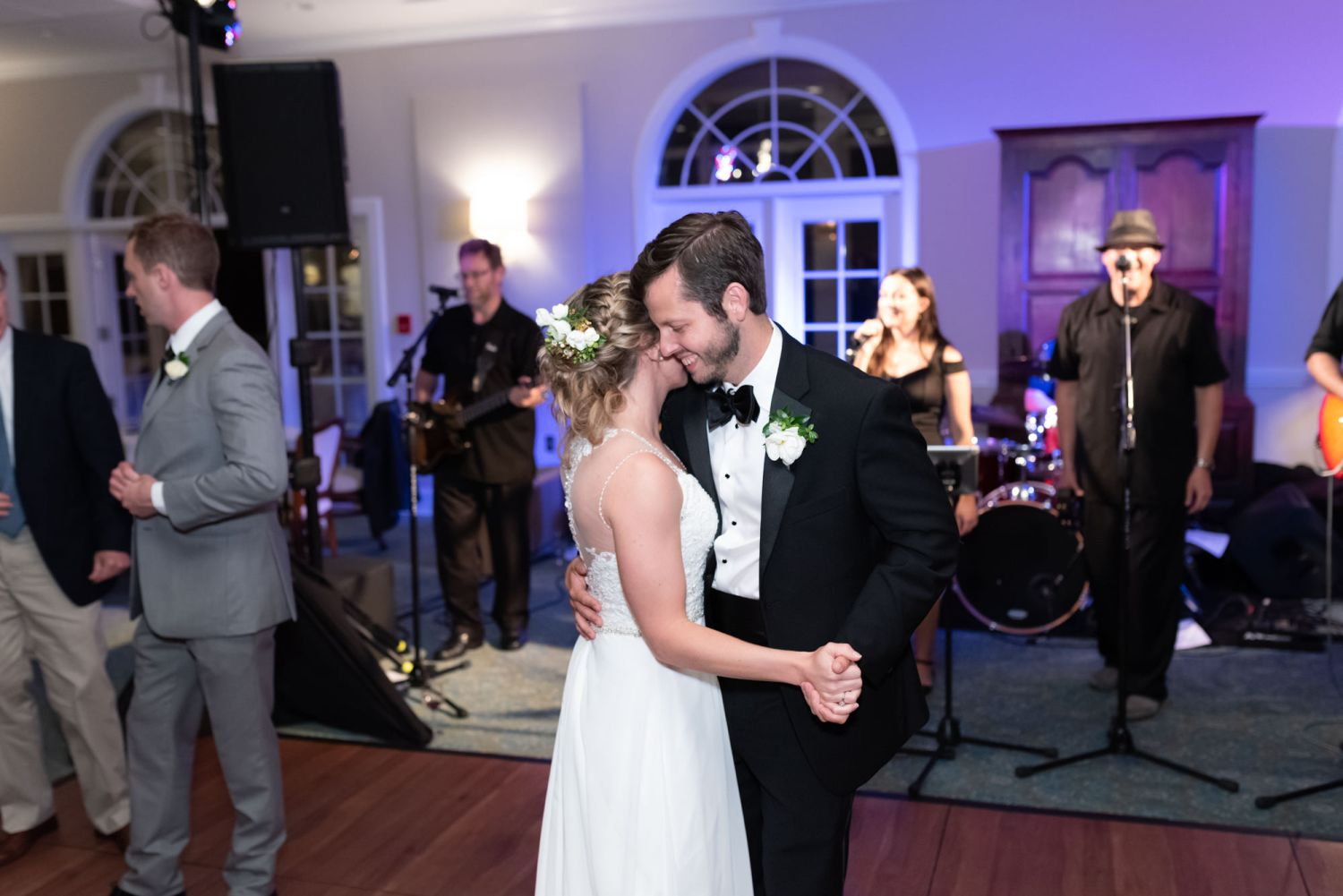Bride and groom dancing at end of reception - Wachesaw Plantation