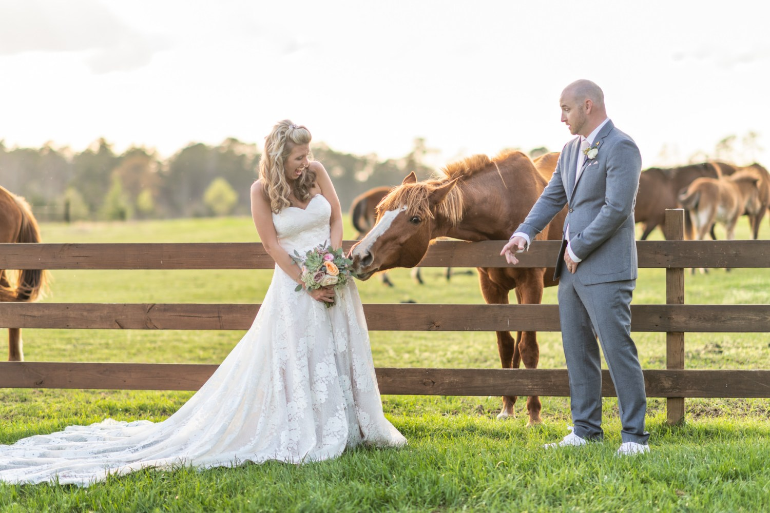 Horse trying to eat the bride's bouquet  - Wildhorse at Parker Farms