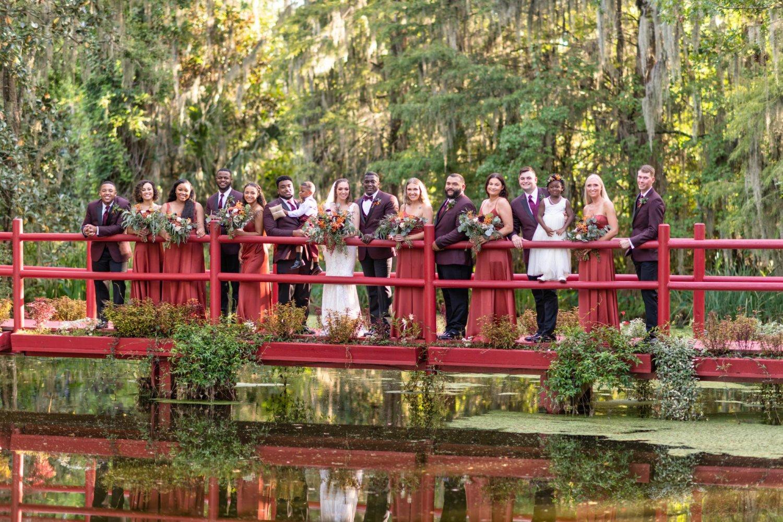 Bridal party on the red bridge  - Magnolia Plantation - Charleston, SC