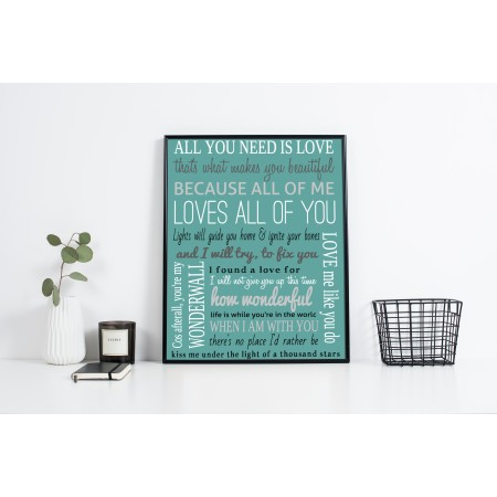 song lyrics typography poster