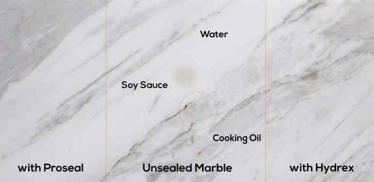 Liquid stains on unsealed marble