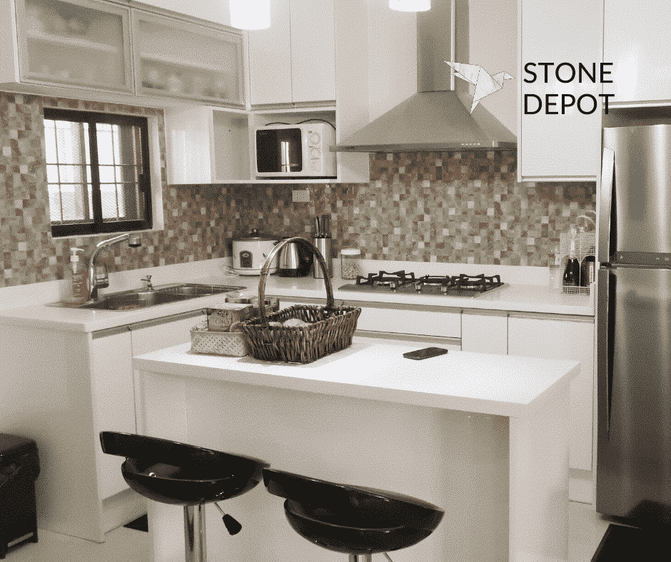 L-shaped Moonstone quartz countertop and kitchen island in Davao City