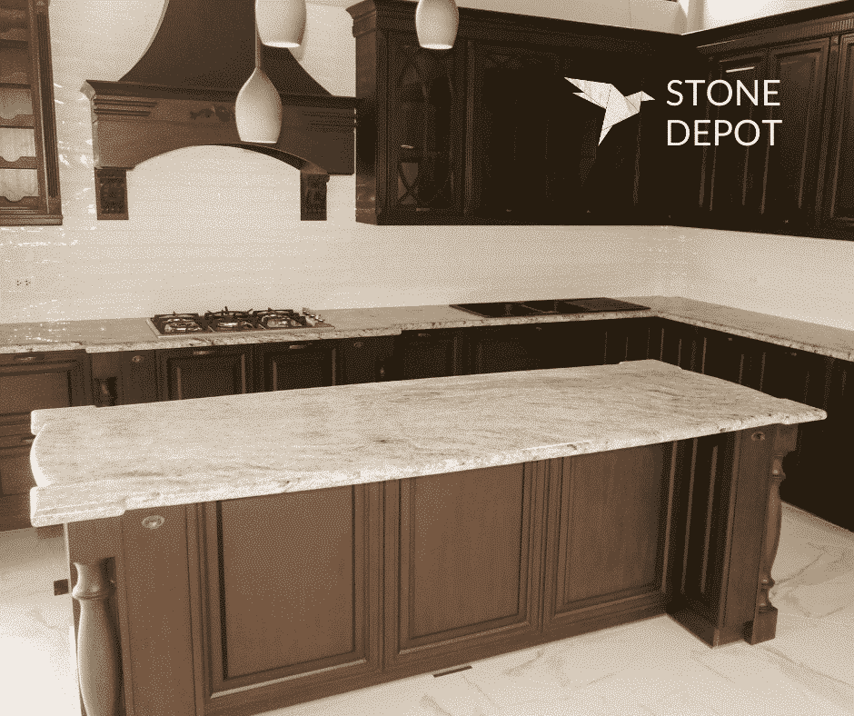 L-shaped Viscon White granite countertop and kitchen island in Cebu City