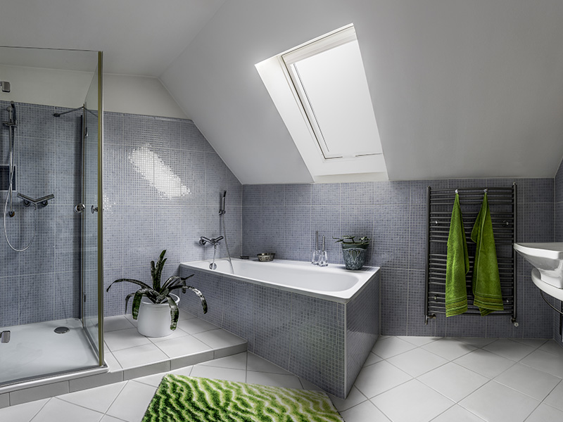 grey and green theme bathroom