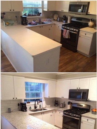 before and after kitchen counter tops