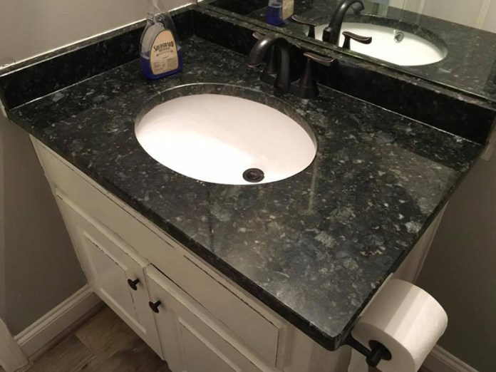 black marble sink counter