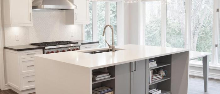 White Caesarstone Quartz Kitchen Island