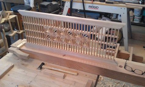 Partial assembly of japanese transom