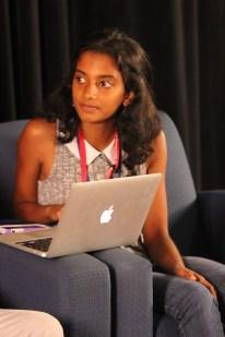 Meghana Reddy, a SHS senior looks on intently, preparing her next question.
