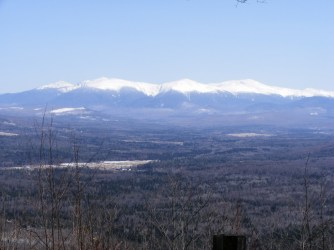 Walking up the snowy auto road at Weeks State Park yielded this view of the Presidentials.