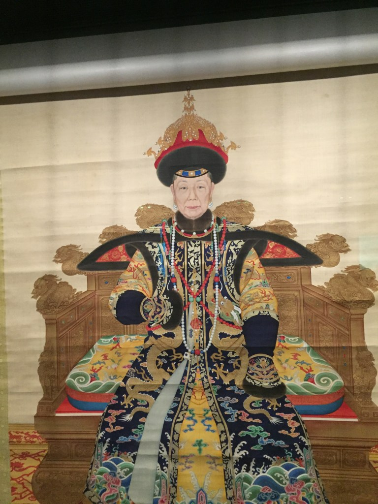 Painting on display at the Palace Museum of the Empress Dowager Chongqing )1693-1777), mother of the Qianlong Emperor.