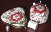 Gum Valley Patchwork's teeny hexagon purse kit and a small hexagon pincushion