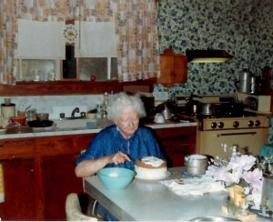 Granny Icing a Cake