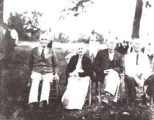 """Oscar """"E.O"""" Wright, Irene (or maybe Fannie E. Wright), George Washington Wright, and Wesley J. Wright. Special thanks to Myra Wilson Mathis for helping identify those in this picture."""