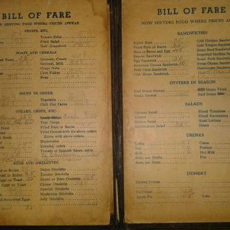 Bill's Cafe menu