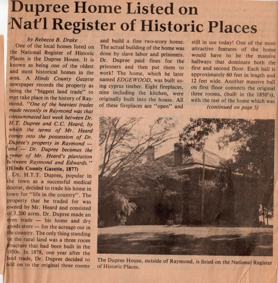 Article by Rebecca B. Drake from the Hinds County Gazette, June 1987