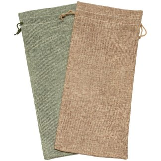 HP340 hessian-look wine bottle pouch, with drawstring - 150 x 340mm