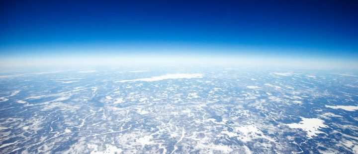 High above the Earth close to the Arctic.