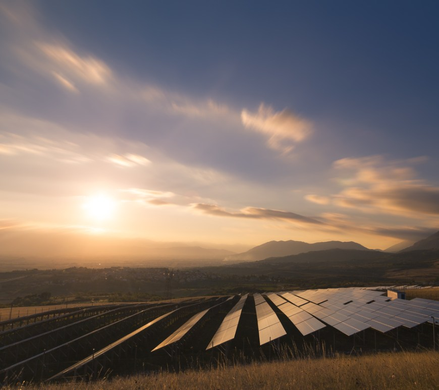 Solar farm at sunrise