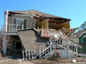 Badly damaged house