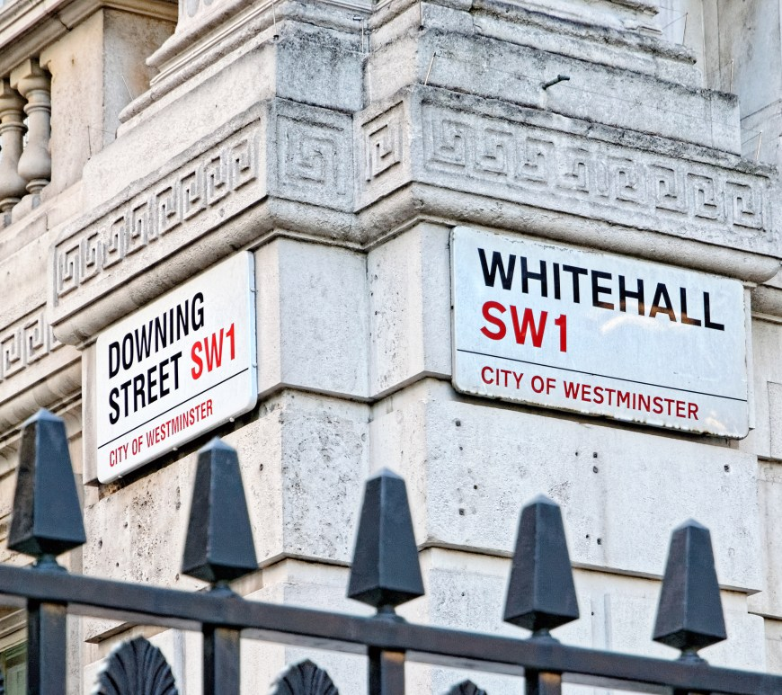 Downing Street Sign City of Westminster London, UK