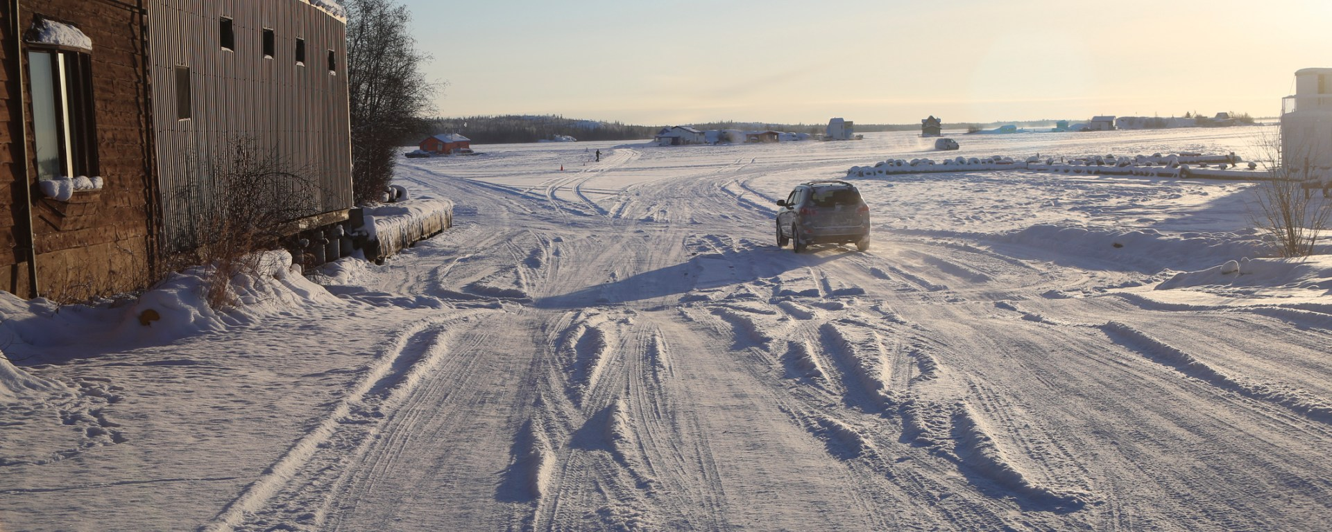 Van on Yellowknife Ice Road, Northwest Territories, Canada