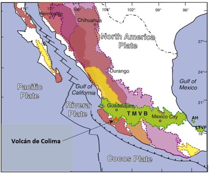 Map showing Location of Volcán de Colima in the TMVB, with the subducting Rivera and Cocos plates also shown (Adapted from Ferrari et al., 2012: Tectonophysics)