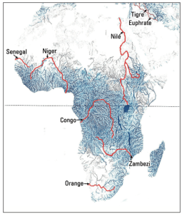 Satellite map showing the location of river systems in Africa