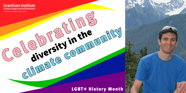 Text saying 'Celebrating diversity in the climate community' and LGBT+ History Month' and an image of Dr Paulo Ceppi.