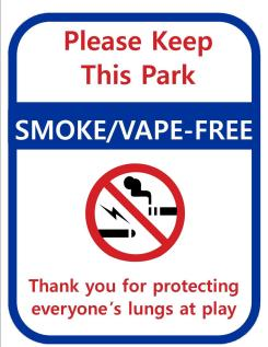 Ephrata Parks No Smoking or Vaping Sign.