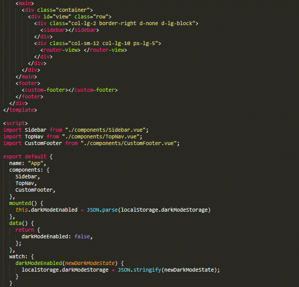 Image of a screen capture, code snippet, dark background with colored tag text.