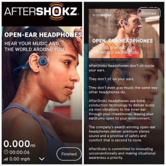 "Screenshots of the Charity Miles app during a workout session. the background is of a woman in profile as she wears a pair of Aftershockz headphones, with the tagline at the top ""hear your music, and the world around you."""