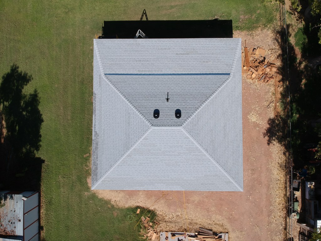 drone shot of roof