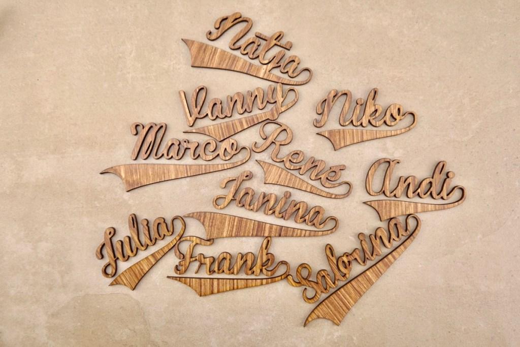 Dekoration Namensschilder Hochzeit: 5 edle Tischkarten Platzkarten Namensschilder für Hochzeit Naturbelassen