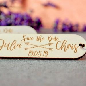 Hochzeit 5er-Set Save The Date-Karte als Schlüsselanhänger aus Holz mit Gravur Hochzeit