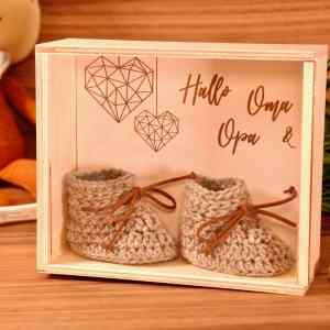Schwangerschaft verkünden mit Kiste aus Holz Hallo Oma & Opa