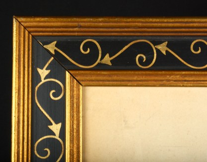 Close up detail of hand painted frame.