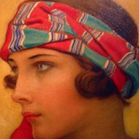 Haunting Portrait of Woman in Scarf