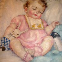 Child Sleeping With Toy Rabbit