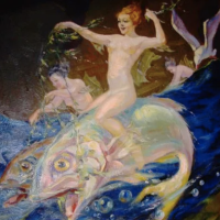 A Nude Sea Sprite On A Flying Fish