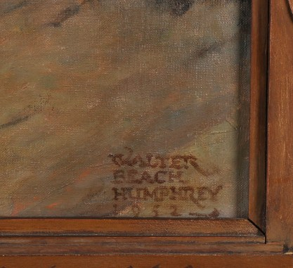 The artist's signature and date and frame detail