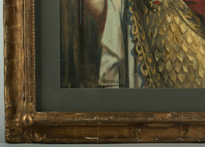 The artist's signature and frame detail
