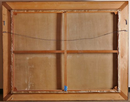 Verso view of back stretcher bars and canvas