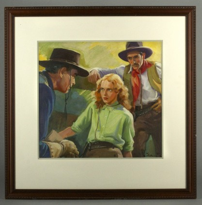 Framed and matted view in contemporary wood frame