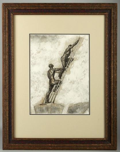 Framed in handsome antique gesso frame