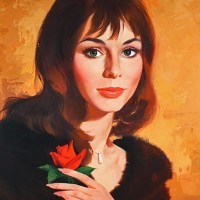 Mod Glamour Girl with Rose