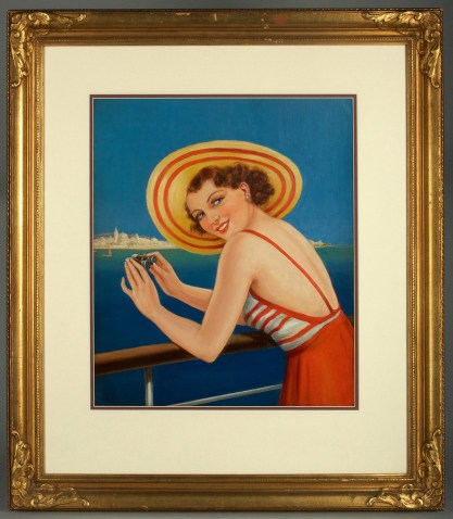 Framed view in antique gesso frame matted behind glass