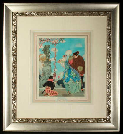 Framed and matted behind glass in beautiful art deco aesthetic gallery frame