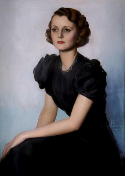 Full view of pastel portrait