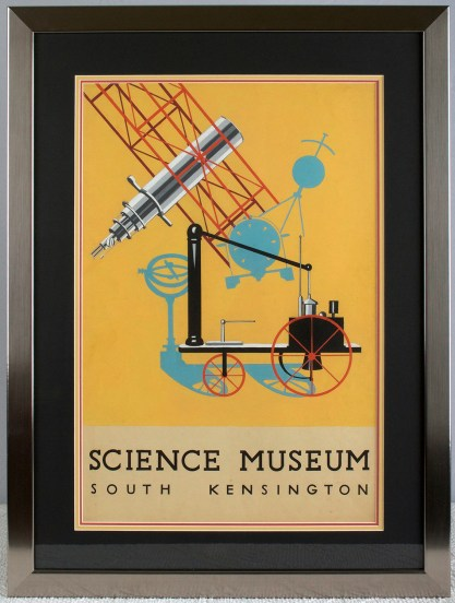 Framed and matted behind glass in modernist metal gallery frame